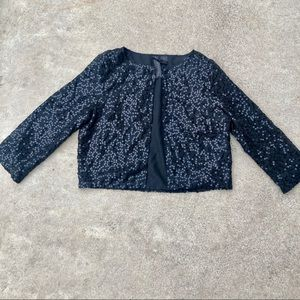 Sequin Cropped Jacket Shrug Black Sparkle Petticoat Alley Cardigan Cover up sma